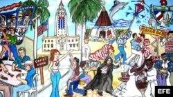Los secretos del exilio cubano y de la Pequeña Habana en una ilustración. Foto: Efe.