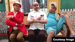 """Los tres personajes de Andy Vázquez en """"Vivir del Cuento"""", en un montaje hecho por el propio actor y cedido a Radio Televisión Martí: de izq. a derecha, Bienvenido, Facundo y Aguaje."""