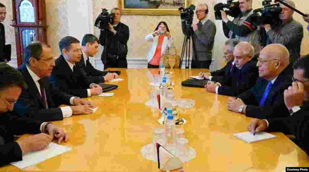 Ricardo Cabrisas en Moscú con Serguei Lavrov.