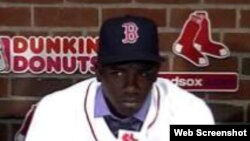 Rusney Castillo, jardinero central de los Medias Rojas de Boston.