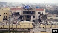 Edifico del consejo local que quedó destruido en la ciudad de Faluya (Irak) tras ataque de Al Qaeda, enero 3/2014.