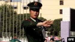 Foto de archivo de un policía chino.