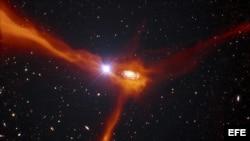 Impresión artística facilitada por el Observatorio Austral Europeo (ESO) que muestra una galaxia en el universo distante.