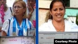 María Cristina Labrada y Maylén González muestran multas impuestas meses atrás.