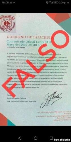 Documento falso que circuló entre migrantes cubanos.