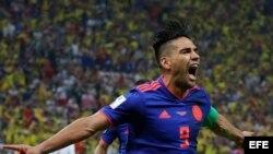 Radamel Falcao celebra su gol frente a Polonia.