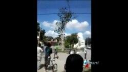 Joven guantanamero realiza protesta subido a un árbol