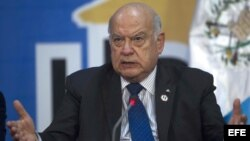 El secretario general de la Organización de Estados Americanos (OEA), José Miguel Insulza, en la asamblea general del organismo.