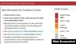 Cuba en el nivel 4 de riesgo por COVID-19, según la clasificación de los CDC.