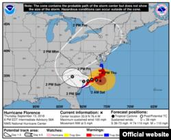 Cono de trayectoria huracán Florence 8.00 PM.Set.13. CNH