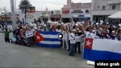 Imagen de la Marcha de los migrantes cubanos en Reynosa