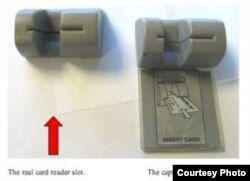 """El uso de un """"skimmer"""" o colador acoplado a un lector de tarjetas de crédito permite robar su número y clave"""