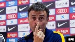 El entrenador del FC Barcelona, Luis Enrique, durante la rueda de prensa de este miércoles.