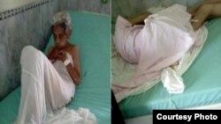 Una de las ancianas mal atendidas en el Hospital Covadonga. Foto: Cortesía de Cubanet.