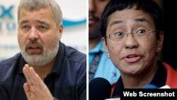 El Premio Nobel de la Paz 2021 fue concedido a los periodistas Dmitry Muratov de Rusia (izquierda) y a Maria Ressa de Filipinas por su lucha por la libertad de expresión. 2021 Mikhail Metzel/AP Images, (c) 2019 Aaron Favila/AP Images
