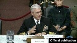El Almirante Faller testifica en la Comisión de Servicios Armados del Senado. Foto Comando Sur.