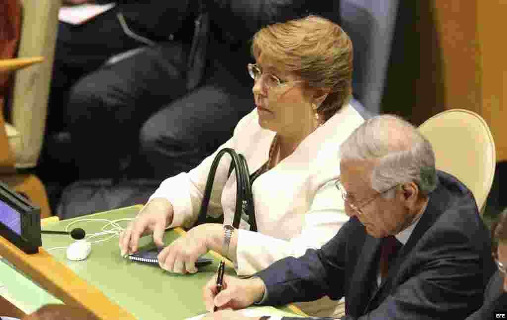 La presidenta de Chile, Michelle Bachelet, durante la intervención del papa Francisco en la ONU.