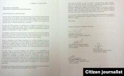 Texto de la carta entregada al Poder Popular por Cuba Decide