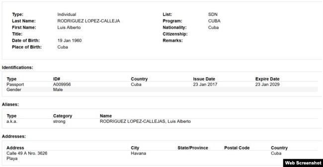 OFAC incluye a López-Calleja en su lista negra.