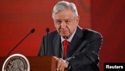 El presidente de México Andres Manuel López Obrador durante una conferencia de prensa en el Palacio Nacional.