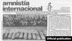 Amnistía Internacional publicó la noticia de la liberación de Ricardo Bofill en 1985.