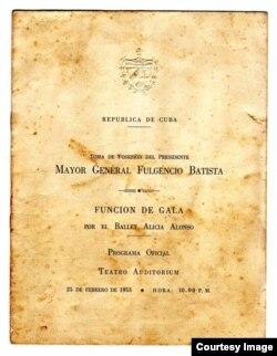Programa de mano de la gala de Alicia Alonso para Batista, en 1955.