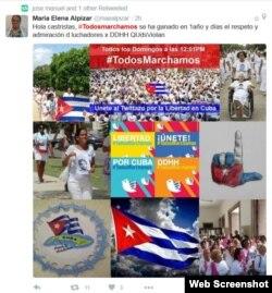 Cuenta de Twitter de la activista de Derechos Humanos María E. Alpízar.
