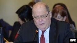 El embajador venezolano Bernardo Álvarez durante una sesión ante el Consejo Permanente de la OEA. EFE