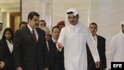 Maduro junto al Emir de Qatar en su gira por países de la OPEP