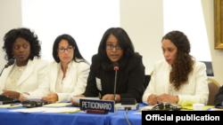 Laritza Diversent, directora de Cubalex, habla en una audiencia de la Comisión Interamericana de Derechos Humanos.