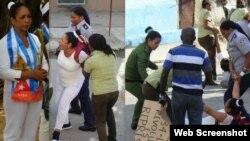 La composición muestra la detención de Aymara Nieto Muñoz frente a la sede de las Damas de Blanco en La Habana. (Foto; A. Moya).