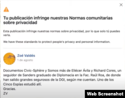 Así comunica Facebook la censura a Zoé Valdés