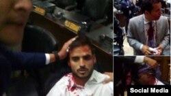 """Tomado del Twitter @AsambleaVE. """"Dip.@ArmandoArmas y funcionarios de seguridad AN resultan heridos durante hechos violentos en el interior del Palacio Federal Legislativo."""""""