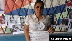 Arianna López, esposa de un preso político, en ayuno por la libertad. (Foto cortesía de la activista)