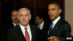 Presidente de Estados Unidos, Barack Obama, junto al lider israelí Benjamin Netanyahu.