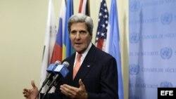 El secretario de Estado de Estados Unidos, John Kerry, hoy jueves 26 de septiembre de 2013, en el marco de la 68 sesión de la Asamblea de las Naciones Unidas, en la sede de la ONU en Nueva York