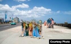 Esculturas del artista cubano José Parla que fueron vandalizadas.