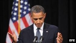 Barack Obama habló a los familiares de las víctimas de la escuela primaria Sandy Hook Elementary en Newtown, Connecticut.