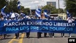Marcha en Managua para exigir la libertad de los presos políticos.