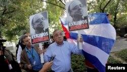 Archivo - Protestas en Chile previo a visita de Raúl Castro