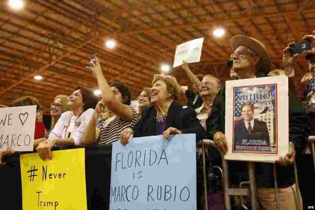 Seguidores del precandidato republicano a la Presidencia estadounidense Marco Rubio en Miami.