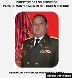 General de división de la Guardia Nacional Bolivariana, Alejandro Pérez Gámez, uno de los arrestados.