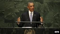 El presidente estadounidense, Barack Obama, interviene en la Asamblea General de las Naciones Unidas celebrada en Nueva York (Estados Unidos).
