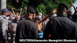 Boinas Negras desplegadas en La Habana durante el levantamiento del 11 de julio. REUTERS/Alexandre Meneghini