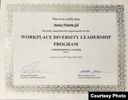 CErtificado de superación obtenido por Jessica