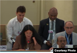 Sirley Avila testifica ante el Consejo de Derechos Humanos, 2018.
