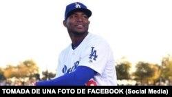 Yasiel Puig, el toletero cubano que bateó de jonrón la noche del jueves 17 de mayo ante los Marlins, en una foto de archivo. TOMADA DE UNA FOTO DE FACEBOOK.