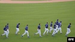 Jugadores de los Dodgers de Los Ángeles durante los Entrenamientos de Primavera en Dodgertown, Vero Beach, Florida en febrero de 2005.