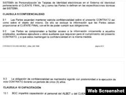 Cláusula de confidencialidad en el contrato entre la firma cubana Albet y la panameña BGC para los pasaportes venezolanos.