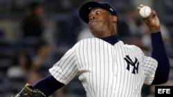 Aroldis Chapman lanzador de los Yankees de Nueva York.